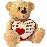 matches21 Teddybär Teddy mit Herz ICH Pass AUF Dich AUF Hellbraun / beige 25 cm Geschenk Klassiker Partner Freundin Valentinstag