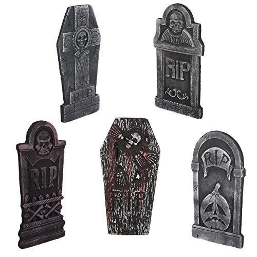 ARTIBETTER 5Pcs Lápide Halloween Decorações de Espuma Lápides de Cemitério Assustador para O Dia Das Bruxas Do Gramado Ao Ar Livre Jardim Quintal Decor