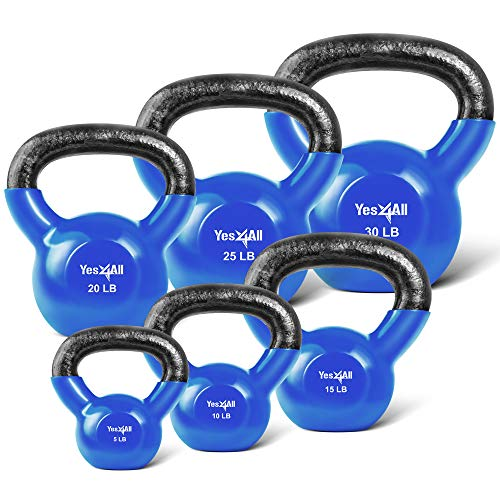 Yes4All Combo Vinyl Coated Kettlebell Weight Sets –...
