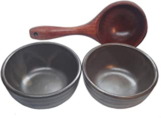Korean Traditional Ceramic Bowls and Wooden Scoop Set for Makgeolli Dongdongju(Korean Raw Rice Wine