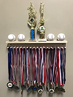 Award Medal Display Rack And Trophy Wall Shelf 18 Medals Ball Holder MADE in the USA