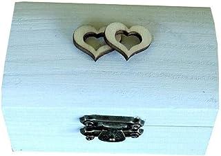 Caja anillos boda de corazón,caja anillos compromiso especial bodas rústicas,color blanco 11 y dentro arpillera o encaje v...