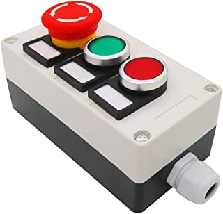 Nxtop Red Green Momentary Push Button Switch 440V 10A 1NC 1NO,Red Mushroom Emergency Stop 1NC 1NO Latching Push Button Switch Station Box