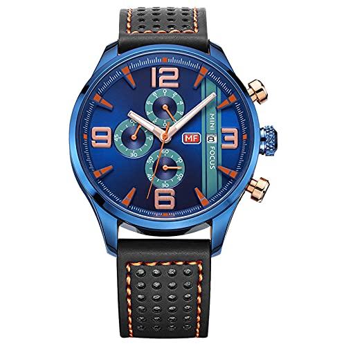 JTTM Reloj De Cuarzo Cronógrafo para Hombre Calendario Analógico Manos Luminosas Impermeable Correa Casual De Cuero Hombre Relojes De Negocios,Black Blue