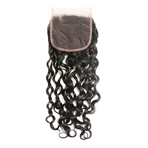 Sakula Brazilian Virgin Remy Full Lace Closure Water Natural Wave Curly Human Hair Lace Closure With Freepart 100 Unprocessed Human Hair Weave Natural Black Color For 4 4 Lace Closure (12 Inch)