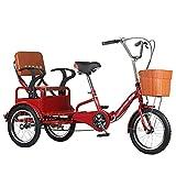 Triciclo para Adultos Bicicleta 16 Pulgadas De Tres Ruedas Crucero Bicicleta Alto Acero De Carbono Marco Plegable Triciclo Adulto con Cesta De Compras Y Asiento Trasero para Personas Mayo(Color:Rojo)