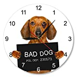 HIDFQY Dachshund Cup Shooting Reloj de Pared Nombre de Perro Personalizado Reloj de Pared Moderno Interesante Criminal Puppy Police Bad Dog Prison Prison Pet Wall Reloj de Pared