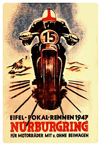Blechschild 20x30cm gewölbt Nürburgring Eifel Pokal Rennen Biker 1947 Deko Geschenk Schild