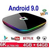 Android TV Box, T95 MAX Android 9.0 TV Box, with 4GB RAM 32GB/64GB ROM, WiFi 2.4G & Ethernet 2 USB Set Top Box Support 6K Ultra HD Internet Video Player,A.4+32G