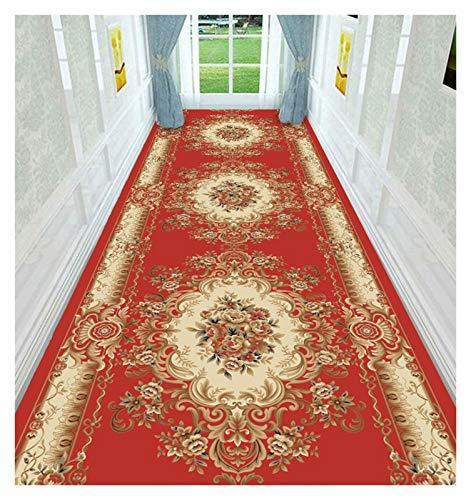 ditan XIAWU Schlafzimmer Teppich Haus Dekoration rutschfest Wohnzimmer Eingang Kann Geschnitten Werden (Color : Red, Size : 120x300cm)
