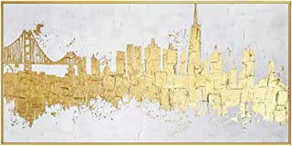 Contemporary Artwork Decorative Golden Picture Modern Abstract Canvas Painting Home Living Room Bedroom Dining Room Wall A...