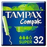 Tampax Compak Super Tampons Avec Applicateur x32, Protection Anti-Fuites Et Discrétion, Sensation De Fraîcheur