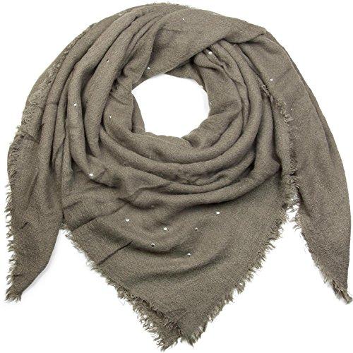 styleBREAKER Damen Feinstrick Viereckstuch mit Nieten und kurzen Fransen am Saum, Winter Schal, großes XL Tuch 01018147, Farbe:Grau