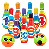 Kids Bowling Set Toddlers Educational Toys 10 Indoor Colorful Soft Foam Pins 2 Bowling Balls Printed with...