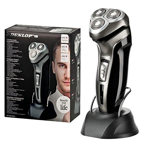 Dunlop Pro Elektrorasierer | 3 Scher-Köpfe einzeln schwingend gelagert | dünne Doppelring-Klingen | Ladestation | Trimmer zum Ausklappen | Abwaschbar