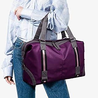 HAWEEL Foldable Travel Bag, Waterproof Oxford Cloth Shoulder Travel Bag Sports Gym Handbag (Black) (Color : Purple)