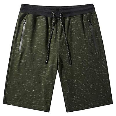 Tansozer Mens Jogger Shorts Cotton Athletic Shorts Zipper Pockets Casual Elastic Waist Drawstring Shorts Summer Workout Gym Sweat Shorts (Army Green, X-Large)
