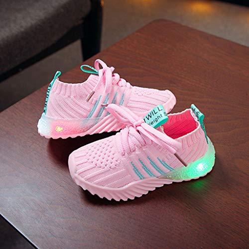LED Sport Schuhe für Kinder,Candy Farbe LED Licht Lampe Freizeitschuhe Sportschuhe Helle Helle Schuhe,Mädchen Jungen Sneakers Laufschuhe Turnschuhe Blinkschuhe Schuhe Für Mädchen (Pink, 25)