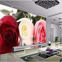 Bosakp 写真の壁紙ファッション立体バラの花の壁紙ロマンチックな寝室の壁紙壁壁画高級絵画 400X280Cm