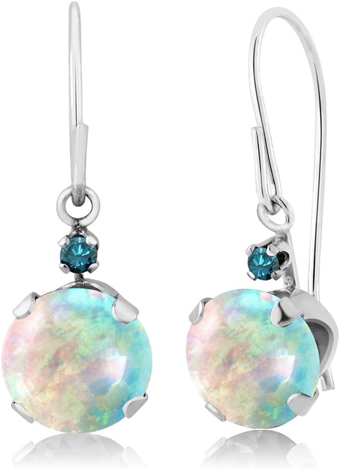 1.33 Ct Round Cabochon White Simulated Opal bluee Diamond 14K White gold Earrings