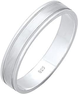Elli 女式优质 925 纯银爱心基本订婚戒指一对