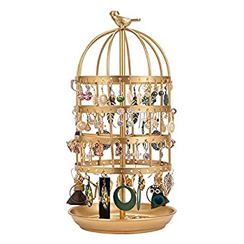 ZYM 360 Rotating Earring Holder Stand Birdcage Metal 128 Holes with Tray Jewellery Stand Jewelry Organiser Display for Bedroom Bathroom Living Room