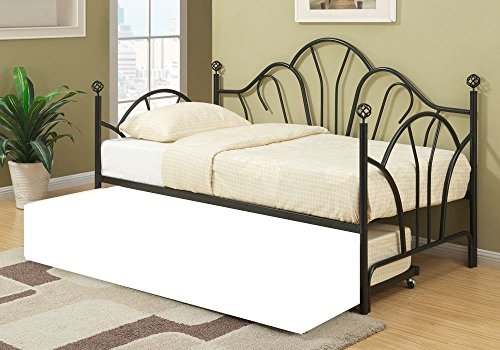 Poundex Day Bed in Black Finish, Multi