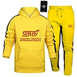 Herren und Damen Sportanzug Für Su_B.Aru STI Zweiteilige Sweater Pants Stripe mit Kapuze Trainingsanzug Beiläufig SPONYBORTY/Gelb/XL