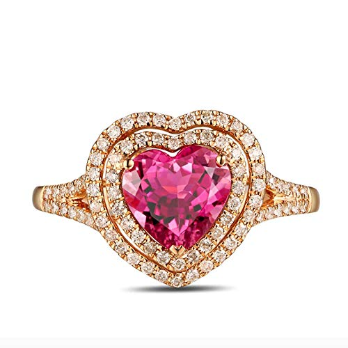 AMDXD Rose Gold Ring 18K Heart Tourmaline 1.12ct Womens Ring for Valentines Day Size 4
