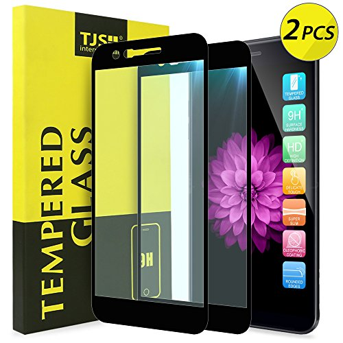 [2-Pack] TJS for LG K10 2018/LG K30/LG Premier Pro LTE/LG Harmony 2/LG Phoenix Plus/LG Xpression Plus [Tempered Glass] Case Friendly Screen Protector, Bubble Free (Black)