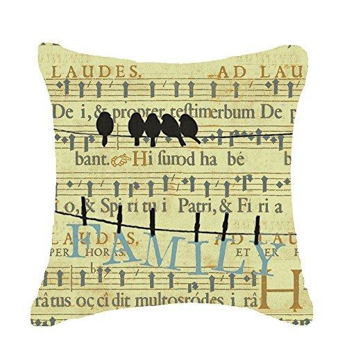Pillow Cover Kissen Deckblatt Musik Familie Animal Bird Schatten auf die Line Überwurf Kissen Fall Baumwolle Leinen Material Dekorative 45,7x 45,7cm