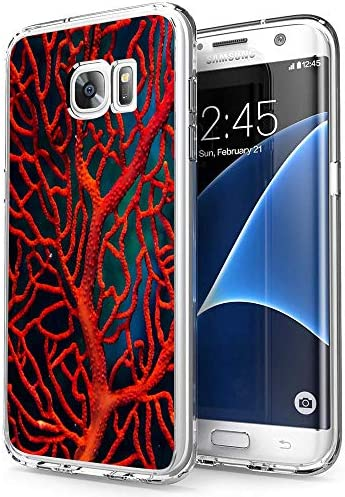 Compatible with Samsung Galaxy S7 Edge Case Clear Red Coral Design Protective Shockproof Cover product image