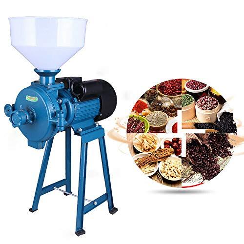 Moulin électrique sec, 1,5 kW, 220 V, 75 kg/h, moulin à riz mouillé, protection contre les céréales, blé, céréales, café, pail, broyeur à céréales, Mill Grinder (bleu)