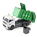 duturpo 1/50 Scale Diecast Waste Management Truck with Trash Bin, Metal Recycling Garbage Truck Toys for Kids Boys