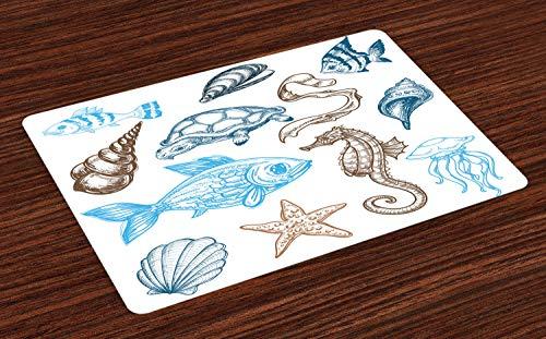 ABAKUHAUS Hipster Placemat Set van 4, Underwater Marine Life, Wasbare Stoffen Placemat voor Eettafel, Dark Blue Cacao