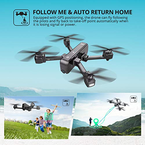 Holy Stone HS270 GPS 2.7K Drone with FHD FPV Camera Live Video for Adults, Portable Selfie Quadcopter for Beginners with Auto Return Home, Custom Flight Path, Follow Me, Long Control Range, Auto Hover