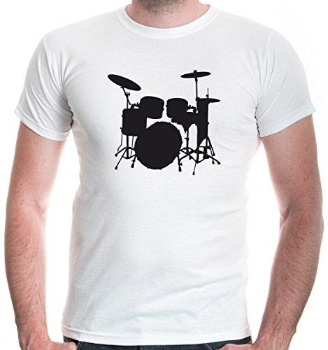buXsbaum® Herren T-Shirt Schlagzeug | Schlagzeuger Drums Trommler Musik Instrument | L, Weiß