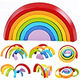 Lewo Wooden Rainbow Stacking Game Learning Toy Geometry Building Blocks Educational Toys for Kids Baby Toddlers (Rainbow)