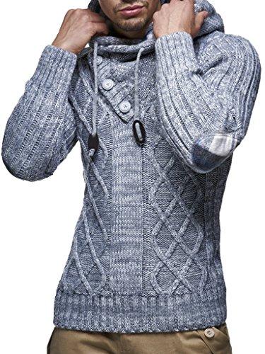 Leif Nelson Herren Pullover mit Kapuze Slim Fit Longseleeve Schwarzer Männer Strickpullover - Sweatshirt - Winterpullover Kapuzenpullover - Hoodie Pulli Langarm LN10346N Anthrazit XX-Large