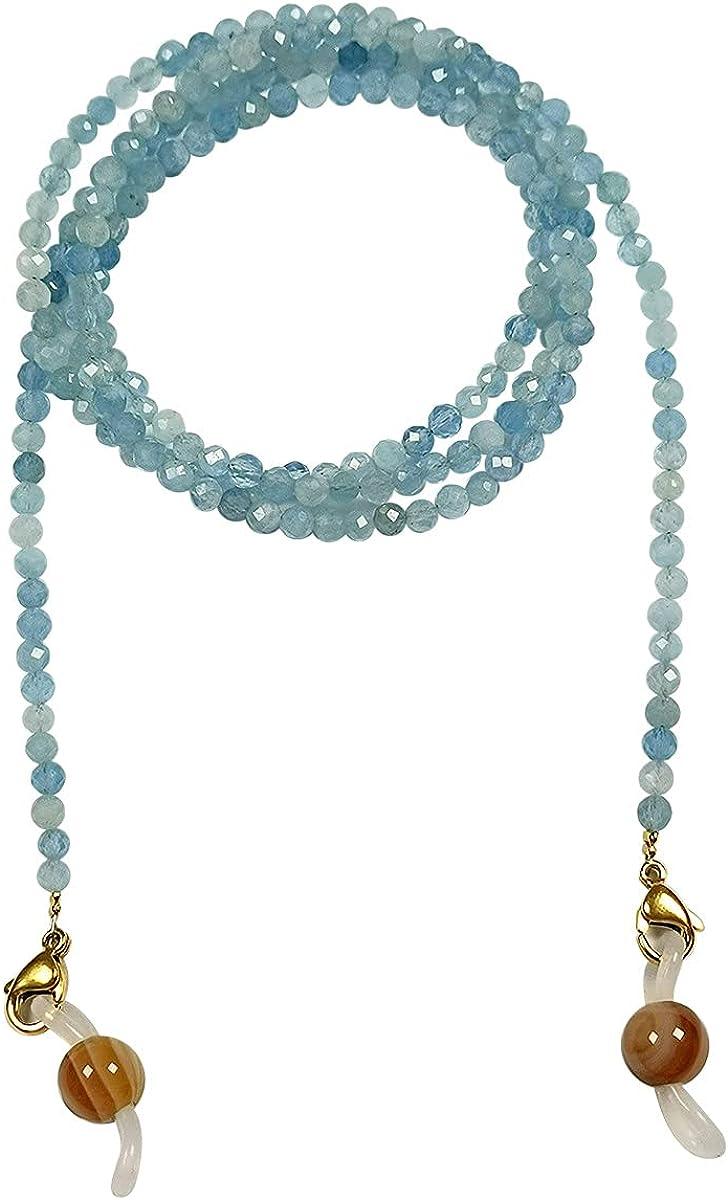 Qordelia Faceted Natural 2MM-4MM Aquamarine Beads Eyeglasses Chain, Aquamarine Necklace, Aquamarine Bracelet, Eyeglasses