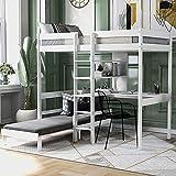 MWKL La más Nueva litera de tamaño Doble con Marco de Cama Tipo Loft Inferior con estantes y Escalera para niños y niñas, Cama Alta con Escritorio
