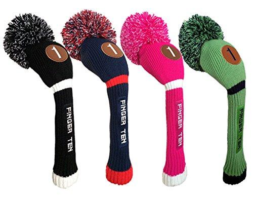 FINGER TEN Pom Pom Golfschlägerhaube aus Holz für Driver Fairway Hybrid, für Herren und Damen, Farbe: Schwarz, Blau, Pink, Vorteilspack (grün/blau, Fairway-3)
