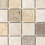 Carrelage mosaïque Travertin en pierre naturelle beige marron travertin tumbled pour sol, mur, salle de bain, cuisine,...