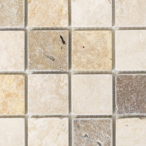 Mosaik Fliese Travertin Naturstein beige braun Travertin tumbled für BODEN WAND BAD WC DUSCHE KÜCHE FLIESENSPIEGEL THEKENVERKLEIDUNG BADEWANNENVERKLEIDUNG Mosaikmatte Mosaikplatte