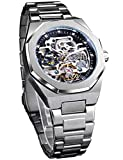 FORSINING Automatic Watch Mechanical Wrist Watch for Men Octagonal Waterproof Skeleton Watches Luxury Diamond Tourbillon Silver Stainless Steel Band