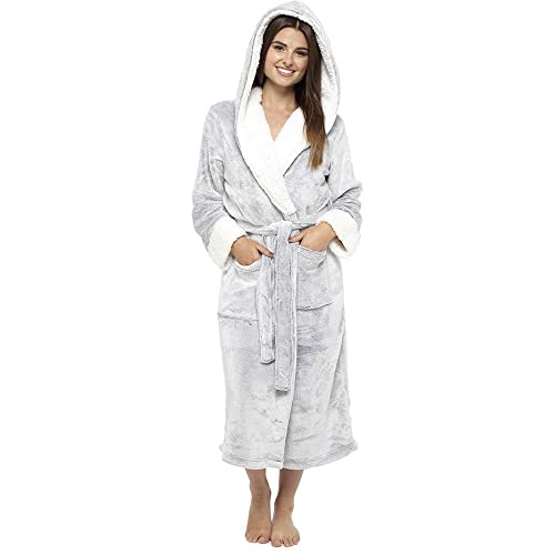 Ladies Sherpa Lined Hooded Shimmer Soft Coral Fleece Gowns Robes Wraps LN526 e011326e0