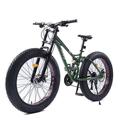 DJYD 26-Zoll-Frauen Mountainbikes, Doppelscheibenbremse Fat Tire Mountain Trail Bike, Hardtail Mountainbike, Verstellbarer Sitz Fahrrad, High-Carbon Stahlrahmen, Grün, 24 Geschwindigkeit FDWFN