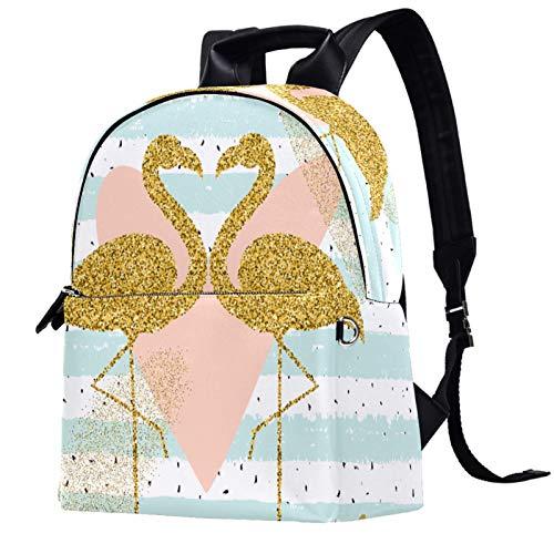 Womens Backpack 14.5x12.5x5.9Inch Stylish Casual Travel School Backpack,Creativity Gold Glitter flamingo