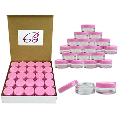 (Quantity: 100 Pcs) Beauticom 5G/5ML Round Clear Jars with Pink Lids for Jams, Honey, Cooking Oils, Herbs and Spices - BPA Free