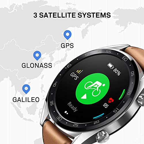 Huawei Watch GT Classic Smartwatch (46 mm Amoled Touchscreen, GPS, Fitness Tracker, Herzfrequenzmessung, 5 ATM wasserdicht) Saddle/braun - 6